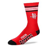 Adult For Bare Feet Houston Rockets Deuce Striped Crew Socks
