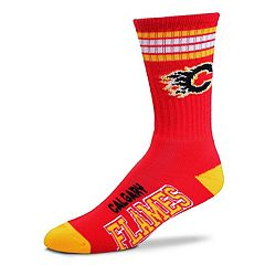 Adult For Bare Feet Calgary Flames Deuce Striped Crew Socks