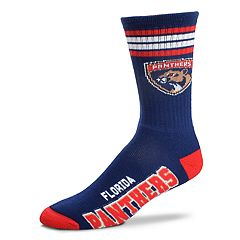 Adult For Bare Feet Florida Panthers Deuce Striped Crew Socks
