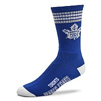 Adult For Bare Feet Toronto Maple Leafs Deuce Striped Crew Socks