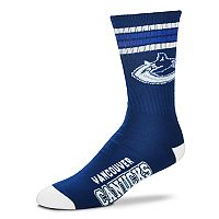 Adult For Bare Feet Vancouver Canucks Deuce Striped Crew Socks
