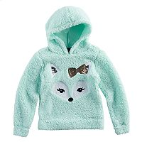 Girls 7-16 Miss Chievous Sequin Face Sherpa Hoodie