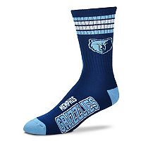 Adult For Bare Feet Memphis Grizzlies Deuce Striped Crew Socks