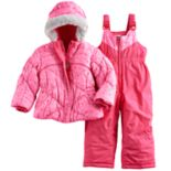 Toddler Girl ZeroXposur Heart Print Joy Jacket & Bib Snow Pants Set