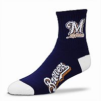 Adult For Bare Feet Milwaukee Brewers Team Color Quarter-Crew Socks