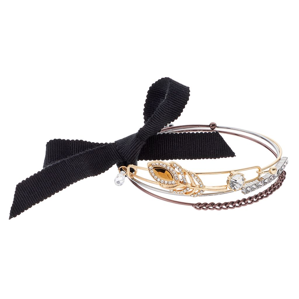 Simply Vera Vera Wang Leaf, Bar & Curb Chain Bangle Bracelet Set
