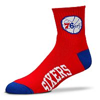 Adult For Bare Feet Philadelphia 76ers Team Color Quarter-Crew Socks