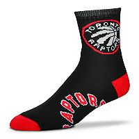 Adult For Bare Feet Toronto Raptors Team Color Quarter-Crew Socks