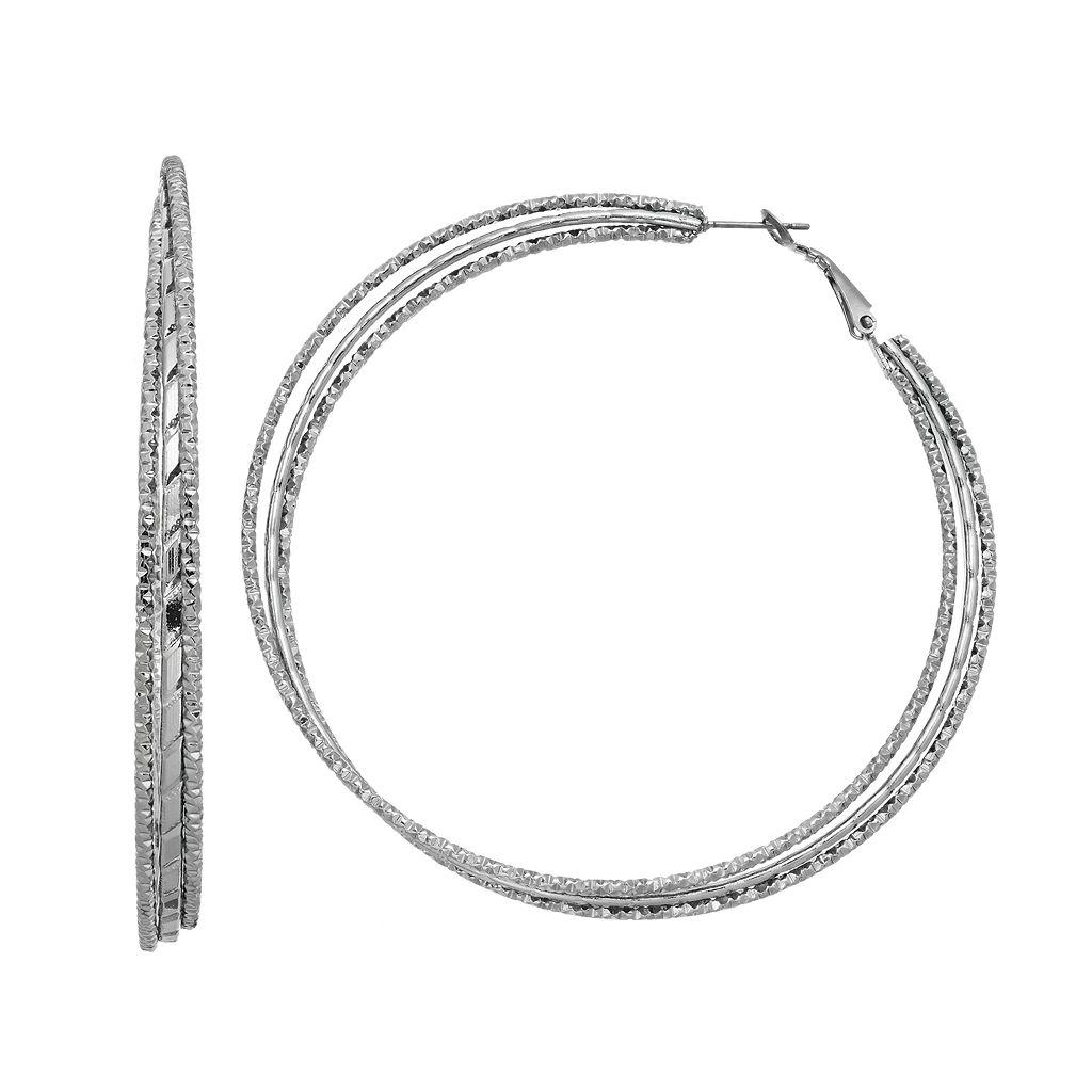 Simply Vera Vera Wang Textured Nickel Free Triple Hoop Earrings