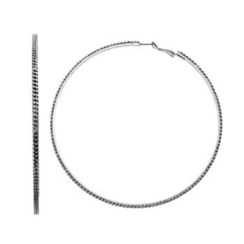 Simply Vera Vera Wang Curb Chain Overlay Nickel Free Hoop Earrings