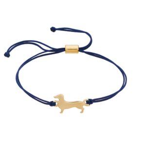 LC Lauren Conrad Dachshund Blue Cord Slipknot Bracelet
