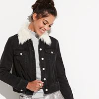 k/lab Faux-Fur Collar Jean Jacket