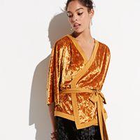 k/lab Kimono Wrap Velvet Top