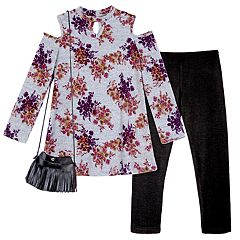Girls 7-16 & Plus Size IZ Amy Byer Floral Cold Shoulder Keyhole Top & Leggings Set with Fringe Crossbody Purse