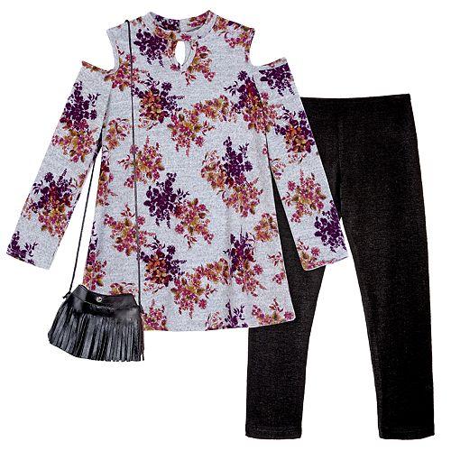Girls 7-16 & Plus Size IZ Amy Byer Floral Cold Shoulder Keyhole Top & Leggings Set with Fringe Crossbody Purse