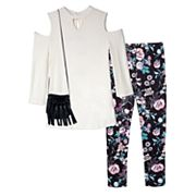Girls 7-16 & Plus Size IZ Amy Byer Cold Shoulder Keyhole Top & Patterned Leggings Set with Fringe Crossbody Purse