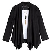 Girls 7-16 & Plus Size IZ Amy Byer Handkerchief Hem Cozy Top with Necklace