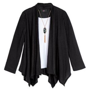 Girls 7-16 & Plus Size IZ Amy Byer Handkerchief Hem Cozy Top with Necklace