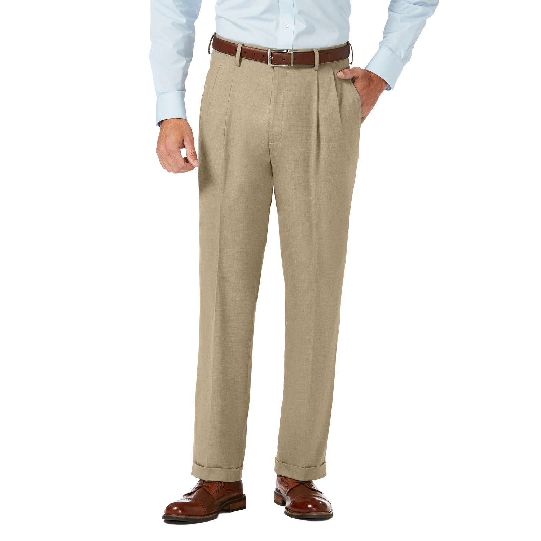 Haggar Mens Two Tone Herringbone Expandable Waist Pleat Front Dress Pant