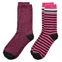 Girls 4-16 Cuddl Duds 2-pk. Plushfill Space-Dyed & Striped Crew Socks
