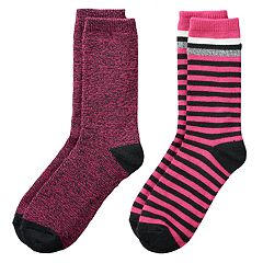 Girls 4-16 Cuddl Duds 2-pk. Plushfill Space-Dyed & Striped Crew Socks