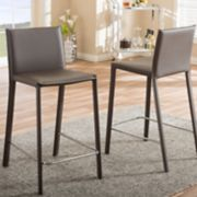 Baxton Studio Crawford Faux-Leather Counter Stool 2-piece Set