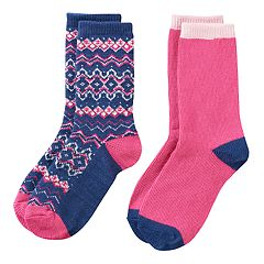 Girls 4-16 Cuddl Duds 2-pk. Plushfill Fairisle & Solid Crew Socks