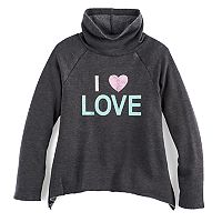 Girls 7-16 SO® Cowlneck Curved Hem Fleece-Lined Graphic Top