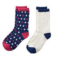 Girls 4-16 Cuddl Duds 2 pkPlushfill Polka-Dot & Solid Crew Socks