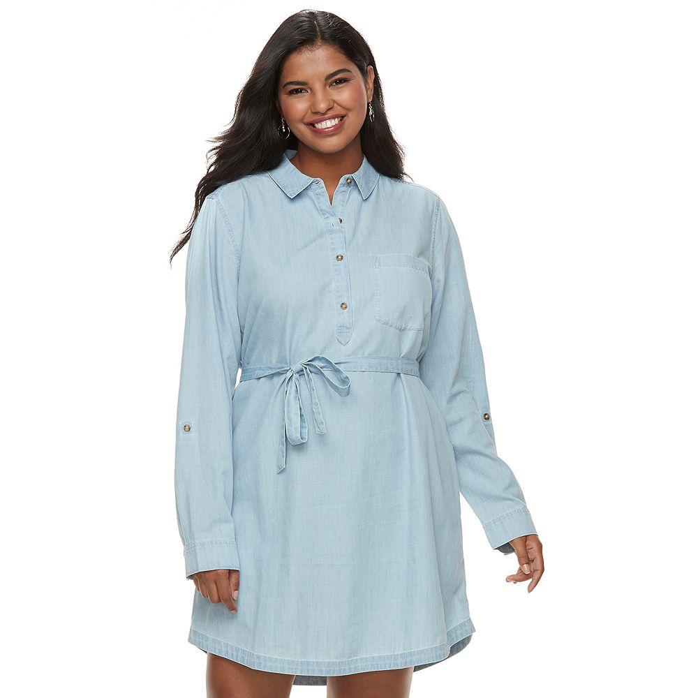 Juniors\' Plus Size SO® Chambray Shirt Dress