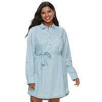 Juniors' Plus Size SO® Chambray Shirt Dress