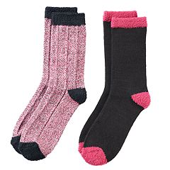 Girls 4-16 Cuddl Duds 2 pkPlushfill Space-Dyed & Solid Crew Socks
