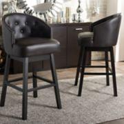 Baxton Studio Avril Faux-Leather Swivel Counter Stool 2-piece Set