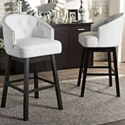 Baxton Studio Avril Faux-Leather Swivel Counter Stool 2 pc Set