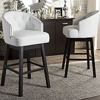 Baxton Studio Avril Faux-Leather Swivel Counter Stool 2-piece Set