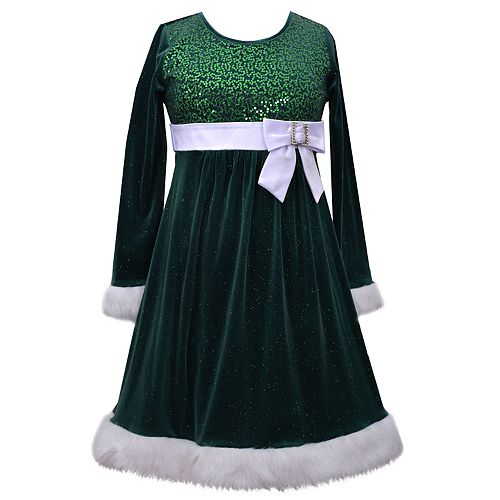Girls 4-6x Jessica Ann Long Sleeve Sparkle Velvet Dress