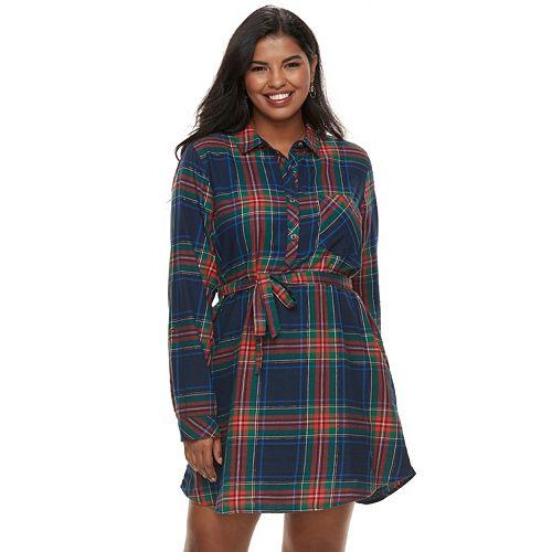 Juniors\' Plus Size SO® Lurex Plaid Shirt Dress