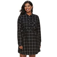 Juniors' Plus Size SO® Plaid Shirt Dress