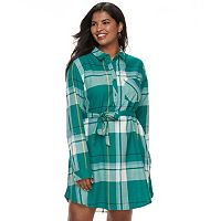 Juniors' Plus Size SO® Plaid Shirt Dress