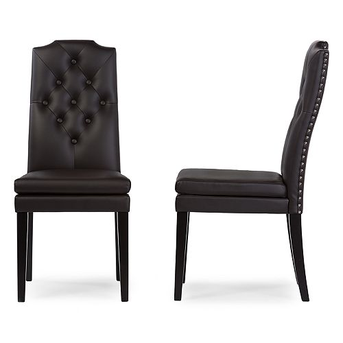 Baxton Studio Dylin Faux-Leather Dining Chair 2-piece Set