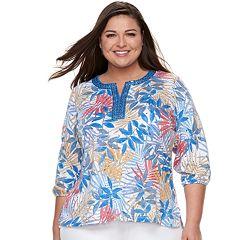 Plus Size Cathy Daniels Floral Rhinestone Top