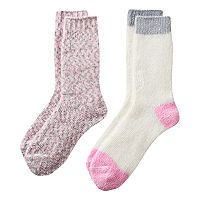 Girls 4-16 Cuddl Duds 2-pk. Chenille Space-Dyed & Solid Crew Socks
