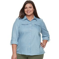 Plus Size Cathy Daniels Button-Front Chambray Top