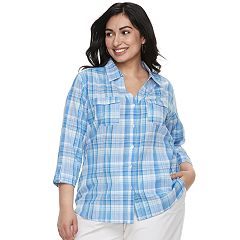 Plus Size Cathy Daniels Plaid Roll-Tab Shirt