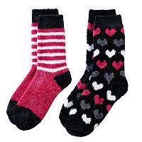 Girls 4-16 Cuddl Duds 2 pkChenille Striped & Heart Pattern Crew Socks