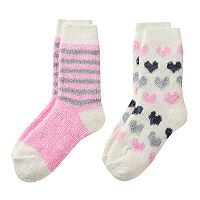 Girls 4-16 Cuddl Duds 2-pk. Chenille Striped & Heart Pattern Crew Socks