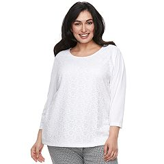 Plus Size Cathy Daniels Lace-Front Top
