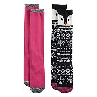 Girls 7-16 Cuddl Duds 2-pk. Penguin Knee High Socks
