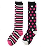 Girls 4-16 Cuddl Duds 2-pk. Stripes & Polka-Dots Knee High Socks