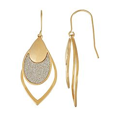 14k Gold Over Silver Glitter Marquise Drop Earrings